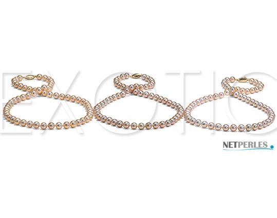 Perles d'eau douce couleur peche doree, couleur peche argentee, couleur rose argente, des perles d'exception