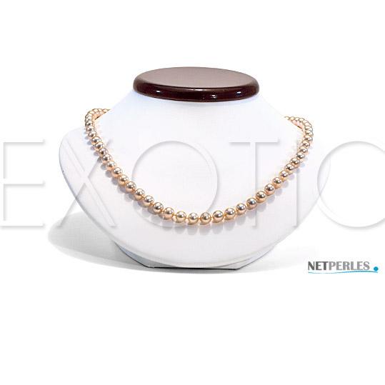 Collier de perles d'eau Douce métalliques