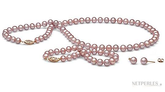 Parure de perles d'eau douce couleur naturelle Lavande