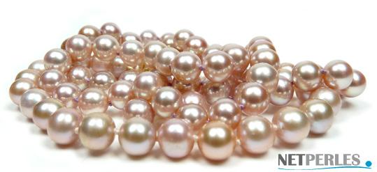 Parure de perles de culture d'eau douce, teinte naturelle lavande diametre 6,5 à 7 mm