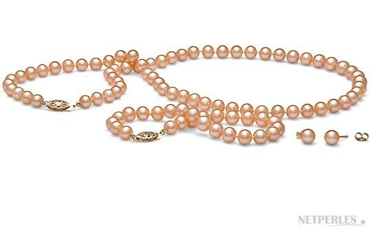 Parure de perles d'eau douce couleur naturelle pêche