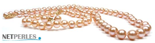 Parure de perles de culture d'eau douce couleur naturelle peche, diametre 6,5 à 7 mm trois bijoux
