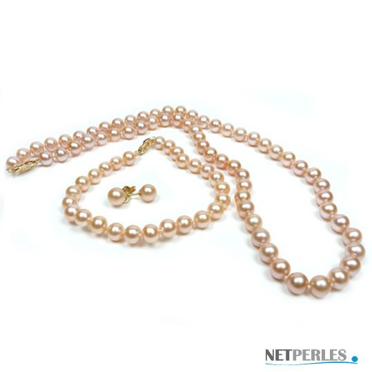 Parure de perles de culture, teinte naturelle peche, diametre 6,5 à 7 mm 3 bijoux