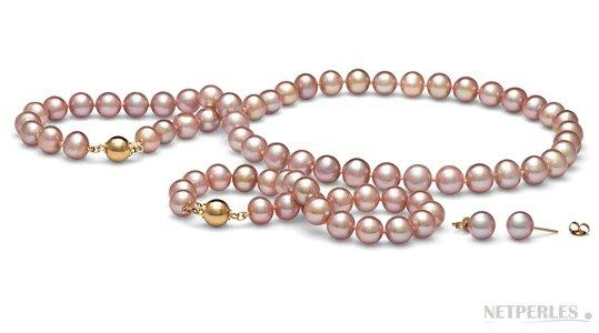 Parure de perles d'eau douce, 8,5-9 mm Lavande