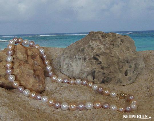 Collier de perles de culture d'eau douce multicolores