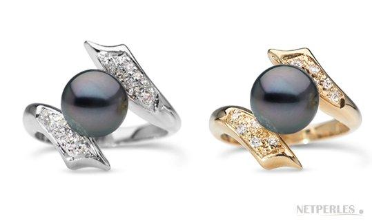 Bague Entrelacs en Or Gris et Or Jaune, diamants, perle de Tahiti qualté AAA haut de gamme