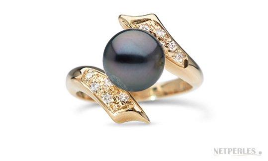 Bague Entrelacs en Or Jaune, Diamants, Perle de Tahiti qualité AAA