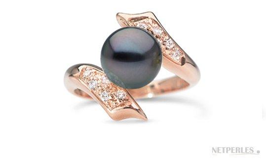 Bague Entrelacs en Or Rose , Diamants, Perle de Tahiti qualité AAA
