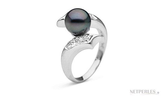 Bague Entrelacs en Or Gris, Diamants, Perle de Tahiti qualité AAA