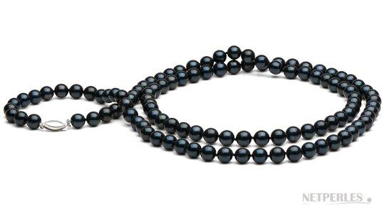 Collier de perles d'Akoya noire, 114 cm de longueur