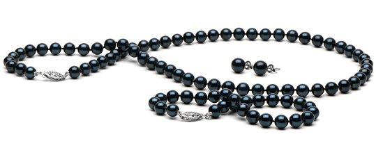 Parure de perles noires Akoya