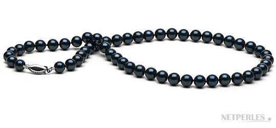 Collier de perles de culture d'Akoya noires