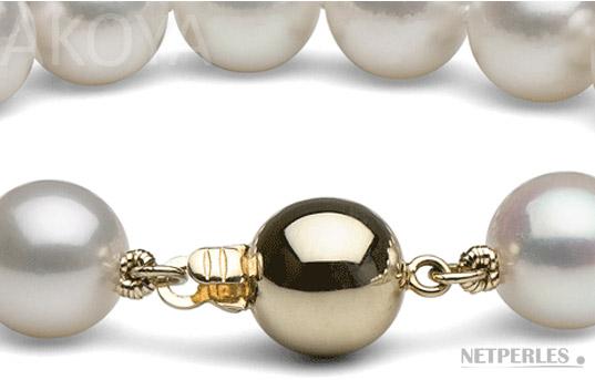 fermoir boule en Or jaune (ou blanc sur demande) pour l'harmonie avec les perles