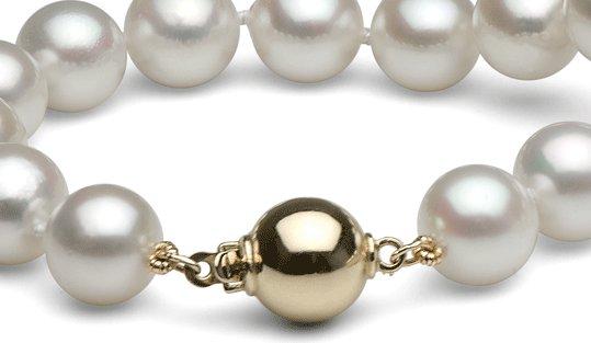 Fermoir boule en or 14 carats pour collier de perles