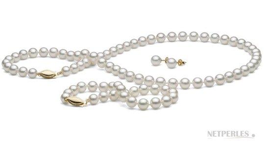 Parure 3 bijoux de perles de culture Akoya du Japon