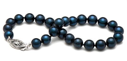 Bracelet de perles de culture d'Akoya noires bleu