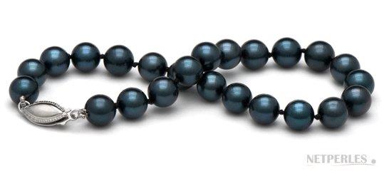 Bracelet de perles d'Akoya noires, 18 cm