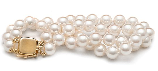 Bracelet double rang de perles d&#039;Akoya