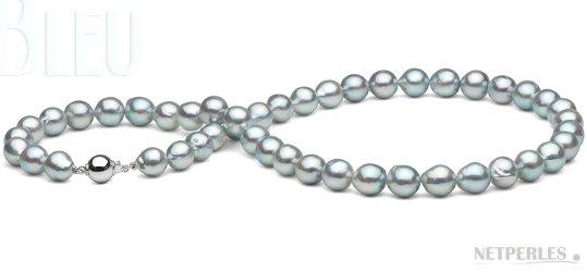Collier de perles baroques AKOYA bleu 8-8,5 mm