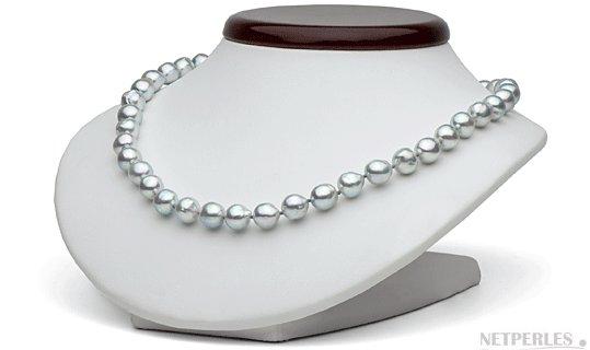 Collier de perles d'akoya bleu baroques