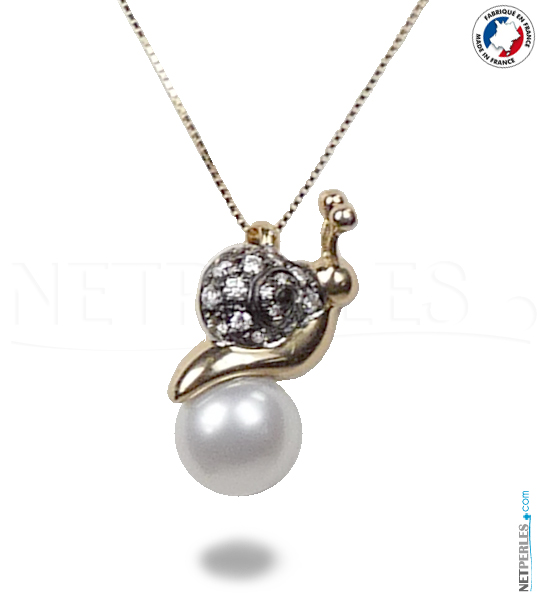 Pendentif en Or 18 carats et perle blanche d'eau douce