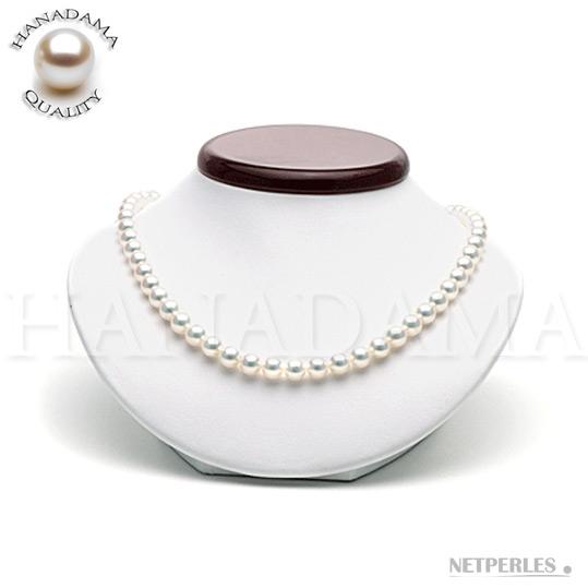 Collier de perles de culture d'Akoya du japon certifiee de qualite HANADAMA