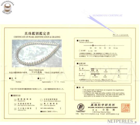 Certificat des perles de culture d'Akoya du japon classeesHANADAMA