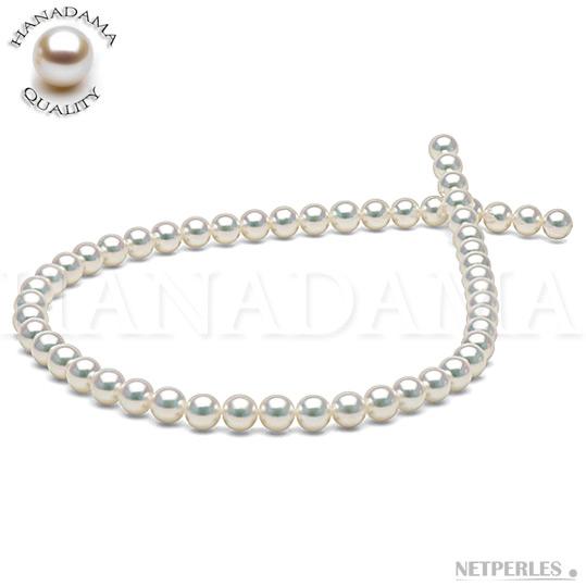 Collier de perles de culture d'Akoya classée HANADAMA sans traitement pinking