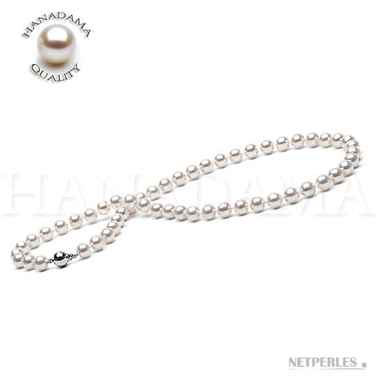 Collier de perles de culture d'Akoya blanches qualité HANADAMA.