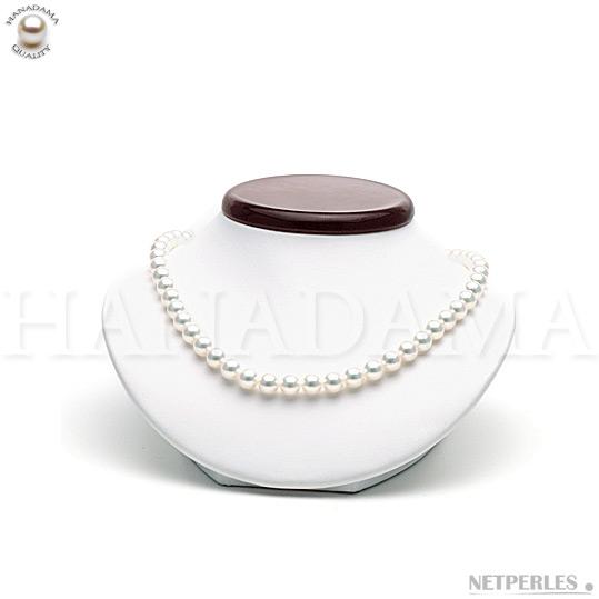 Collier de perles de culture d'Akoya du Japon qualité HANADAMA diamètre 8,0 à 8,5 mm longueur 45 cm