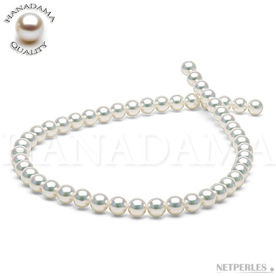 Collier de perles de culture d'Akoya naturellement blanches qualité HANADAMA 45 cm de 8,0 à 8,5 mm