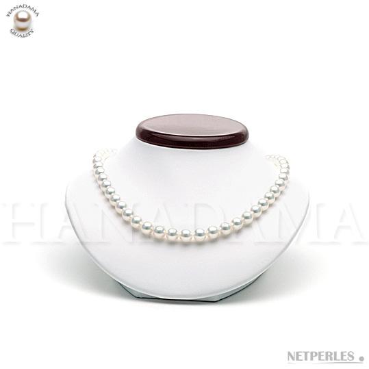 Collier de perles de culture d'Akoya blanche du japon qualité HANADAMA de 8,5 à 9,0 mm
