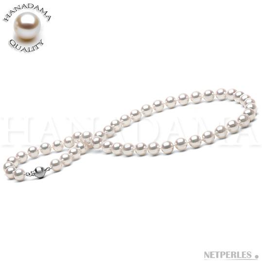 Collier de perles de culture Akoya du Japon qualité HANADAMA de 8,5 à 9,0 mm