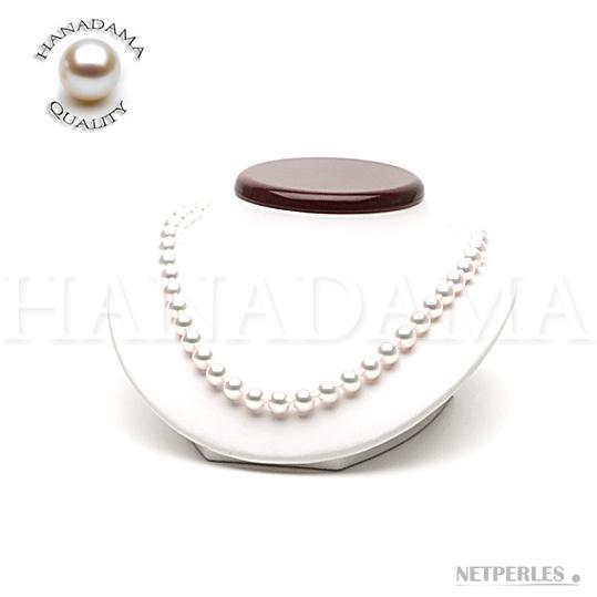 Collier de perles de culture d'Akoya du Japon blanches qualité HANADAMA de très gros diamètre 9,0 à 9,5 mm