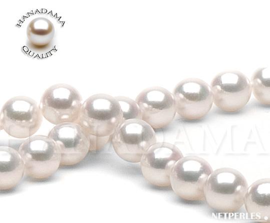 Gros plan sur les perles d'un collier composé de perles de culture d'Akoya du Japon qualité HANADAMA de 9,0à 9,5 mm