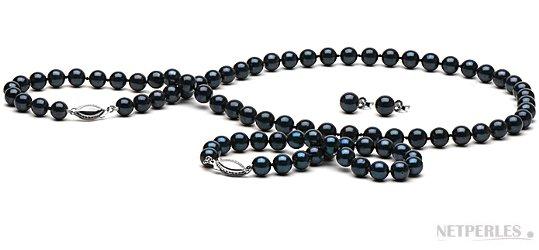 Parure 3 bijoux de perles de culture d'Akoya noires