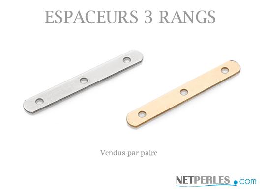 espaceurs en or pour collier ou bracelet 3 rangs