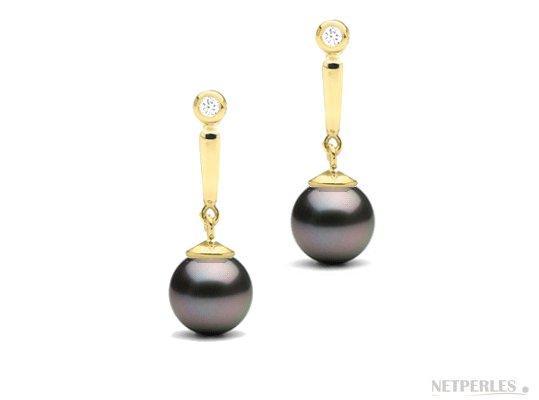 Boucles d'oreilles de perles de Tahiti en Or Jaune 14 carats et diamants