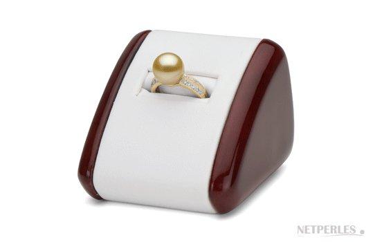 Bague Or 18k et diamants, perle de culture d'Australie dorée