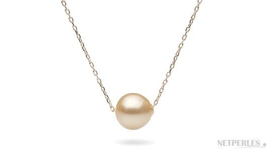 Chaine traversane perle baroque d'australie doree