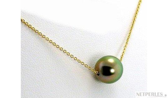 Chaine forçat or jaune et perle de Tahiti
