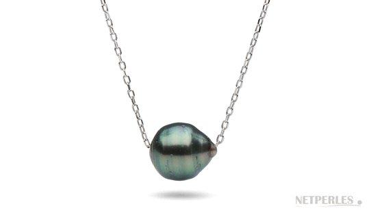 Chaine forçat en or 18 carats traversante une perle de Tahiti baroque