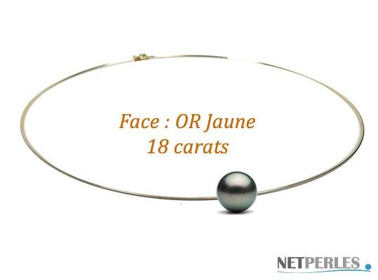 Câble en or 18 carats double face avec perle de Tahiti