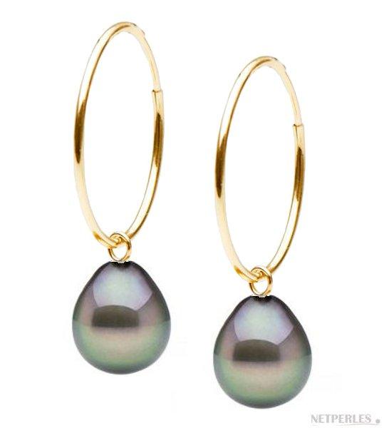 Boucles d'oreilles créoles Or Jaune et Perles de Tahiti Gouttes AAA