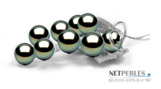 Grappe de raisin en Or 18 carats avec perles de Tahiti qualité AAA de 8 à 9 mm