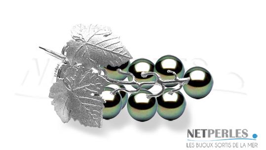 Grappe de raisin en Or 18 carats et 10 perles de Tahiti qualité AAA de 8 à 9 mm