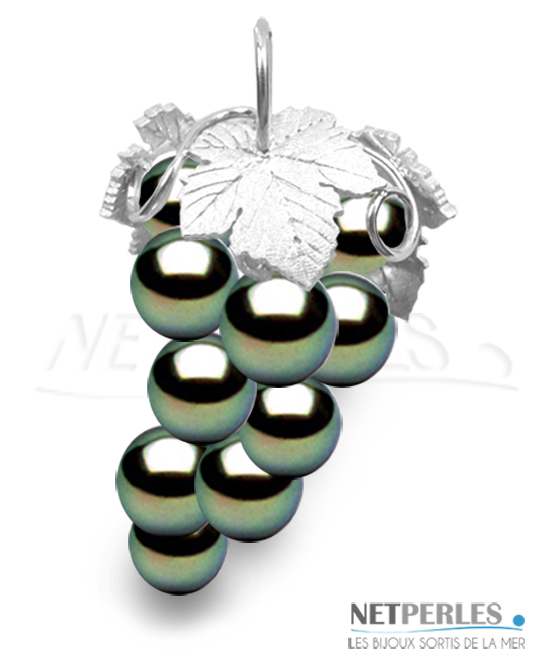 Pendentif Or Gris 18 Carats avec 10 perles de Tahiti qualité AAA de 8 à 9 mm