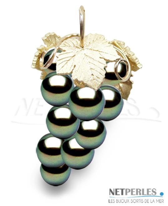 Pendentif Or Jaune 18 carats avec 10 perles de Tahiti de 8 à 9 mm qualité AAA