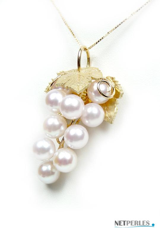 grappe de raisin en or massif avec perles de culture blanches