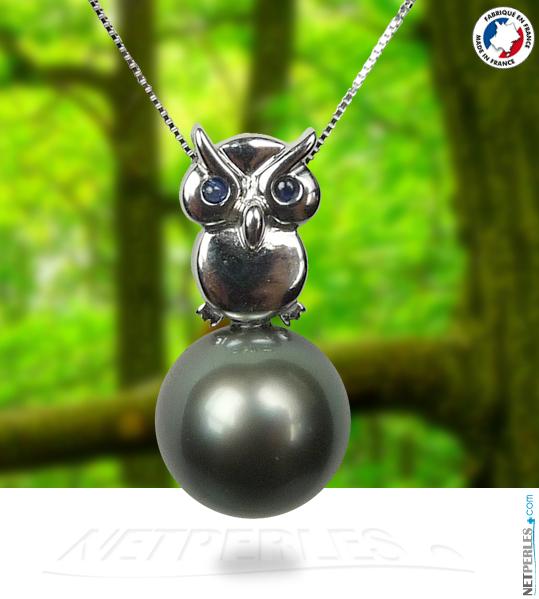 Pendentif Hibou en or 18 carats avec perle noire de tahiti